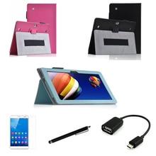 """4in1 защитный кожаный case + otg + протектор экрана + стилус для huawei mediapad 10 link + fhd 10.1 """"tablet pc покоя"""