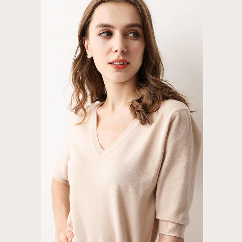 2019 Thu Mới Cổ Chữ V Áo Thun Nữ Tay Ngắn dệt kim Cashmere Áo Len Phối Mỏng Phong Cách Màu Nón Kết Nam Nữ
