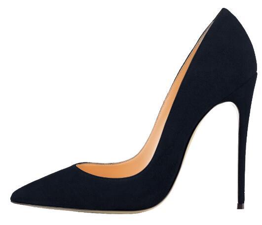 Фирменная женская обувь на высоком каблуке черная замша туфли-лодочки 12 см свадебные туфли Весна Тонкие каблуки оригинальной коробке 34-44