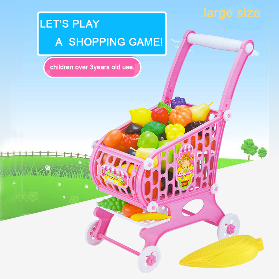 15Pcs large size Supermarket Pretend & Play Shopping Cart Toys Set Children Home Educational Toy Child House Sets