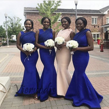 Royal Blue V-Neck Sleeveless Satin Mermaid Bridesmaid Dresses Gown Sexy Trumpet Wedding Party