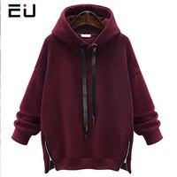 EU Women Autumn Thicken Hoodies Fleece Inside Split Zippers Long Sleeve Casual Fashion Pullovers Warm Clothes