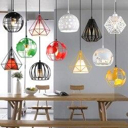 Современный промышленный подвесной светильник в виде клетки, винтажная железная Подвесная лампа, лампа в виде бриллиантовой пирамиды, птиц...