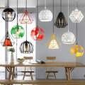 الحديثة الصناعية قفص مصباح متدلي الأرض الباندا مصباح خمر الحديد Hanglamp الماس الهرم الطيور Loft مصباح غرفة الطعام المطبخ