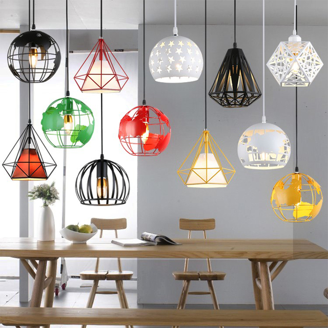 Butelive Modern Industrial Cage Pendant Light Earth Pandent Vintage Iron Dining Room