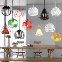 Modern Industrial Cage Pendant Light Earth Pandent Lamp Vintage Iron Hanglamp Diamond Pyramid Bird Loft Lamp Dining Room Kitchen