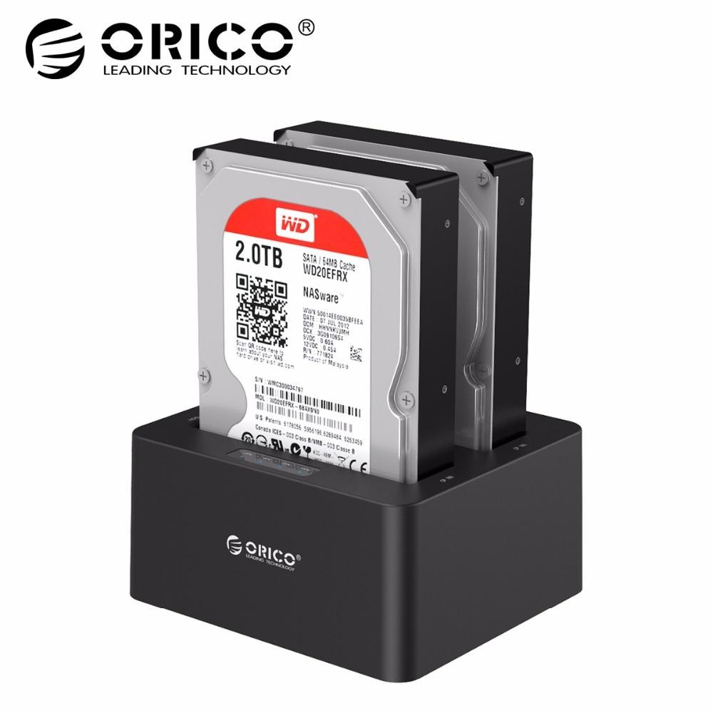 ORICO Dual Bay SATA к USB 3,0 внешний жесткий диск Док-станция для 2,5/3.5HDD с Дубликатор/клон Функция-черный