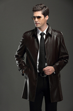 NEW 2014 autumn winter men s brand fashion goatskin jacket and long sections Leisure lapel Genuine