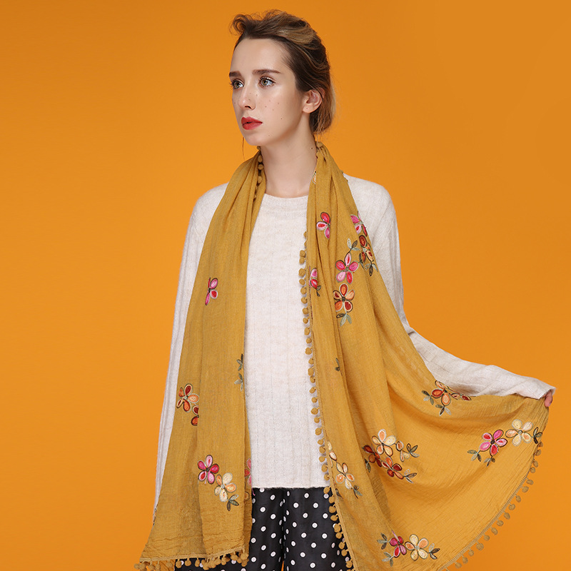 Vintage Style Flower Embroidered Women Scarfs Oversized Long Cotton Blends Casual Retro Shawls and Scarves Ladies