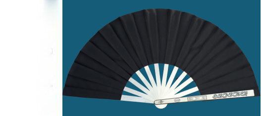 Zelfverdediging Zwart Aluminium Magnesiumlegering Wushu Kung Fu Fans Taiji Vechtsport Tai Chi Fan + Hand Protector Top Kwaliteit Verkoop Van Kwaliteitsborging