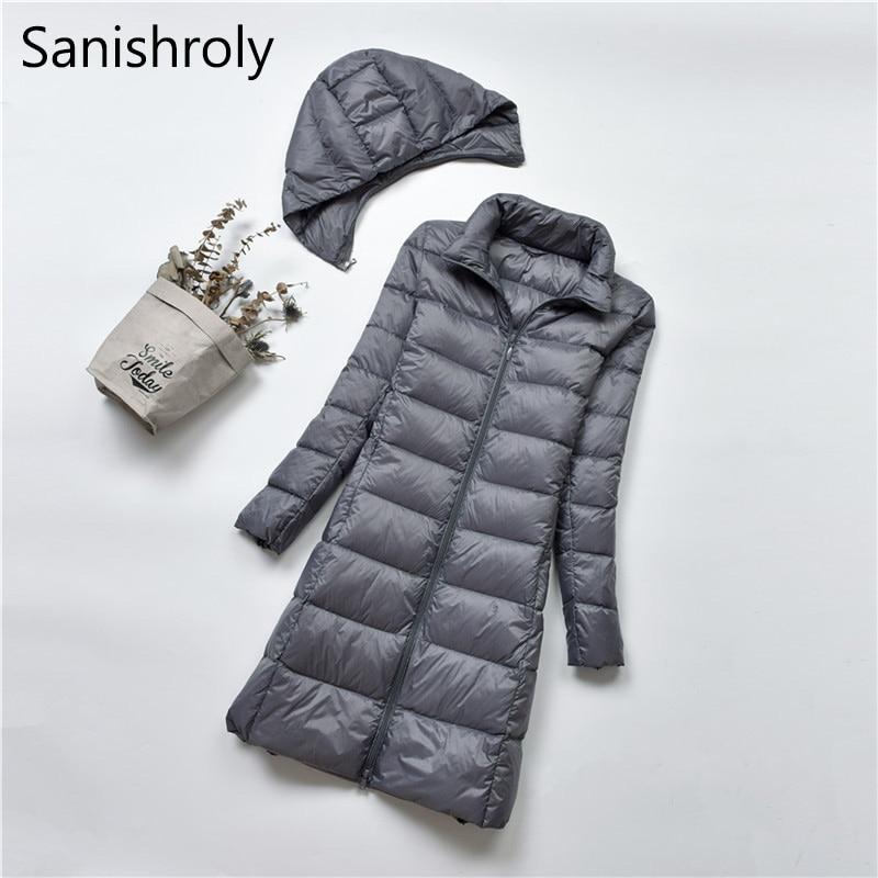 Sanishroly 2018 Women Midi Long Outerwear White Duck   Down   Jacket Female Hooded Ultra Light   Down     Coat   Parka Plus Size 4XL SE309
