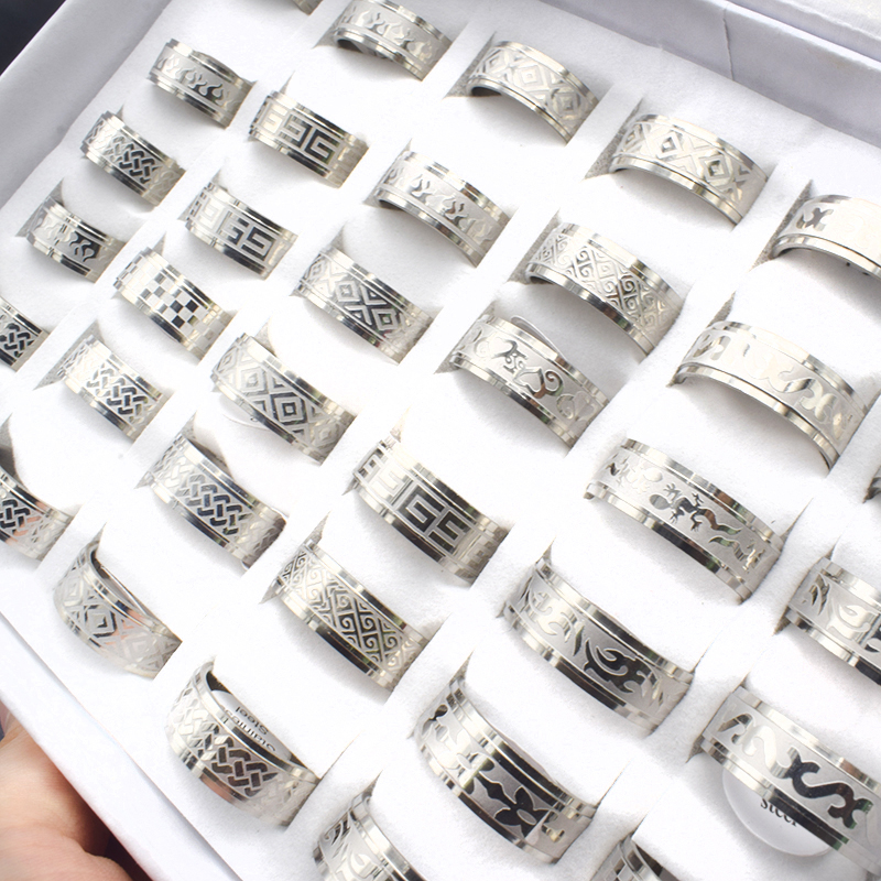 20 Pieces/lot Mix Style Vintage Stainless Steel Rings Men Jewelry Gold Color Bohemian Statement Rings Wholesale Width 8mm