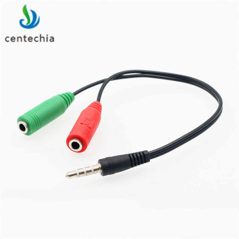Centechia Splitter gniazdo słuchawek 3.5mm Stereo Audio Y Splitter 2 żeński na 1 męski adapter do kabla mikrofon wtyczka dla słuchawki