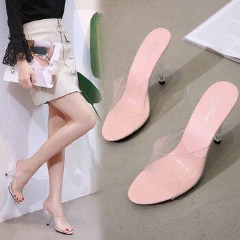 2019 Women Slippers Peep toe Summer PVC Transparent Shoes Sandals Clear Slides Shallow High Heels 7/10CM Slipper - discount item  35% OFF Women's Shoes