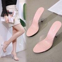 2019 Women Slippers Peep toe Summer PVC Transparent Shoes Women Sandals Clear Slippers Slides Shallow High Heels 7/10CM Slipper