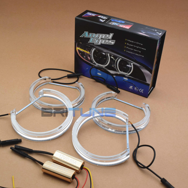 Britune DTM LED melek gözler BMW E46/E39/E36/E38 halojen Xenon far kristal Switchback Halo işıkları aksesuarları Tuning DIY