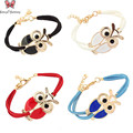 4Pcs/lot Hot Leather Strap Zodiac Bracelet Bangles Enamel Night Owl Charm Bracelet For Women Men Pulseira Masculina Couro Bijoux