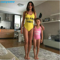 Mother Daughter Swimsuit Clothes Family Look Matching One Pieces Letter Swimwear Outfits Mommy And Me Kids