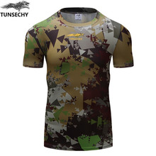 New Bodybuilding Camouflage T Shirt Men Army Tactical Combat T-Shirt Military Camo Camp T Shirts Fitness Compression Shirt