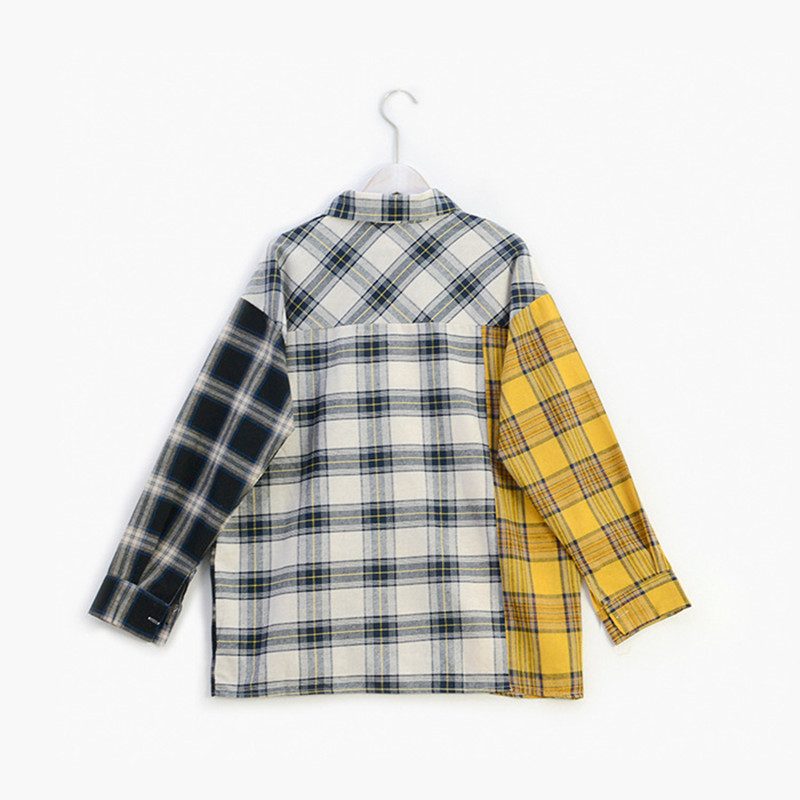 Image 2 - ALLKPOPER KPOP  Plaid Shirt Women Bangtan Boys SUGA Blouse Korea Fashion Plus Size Casual Spring Autumn Splice Shirts-in Blouses & Shirts from Women's Clothing