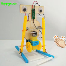 Happyxuan 2019 New Voice Control DIY Electric Assemble Walking Robot Kit STEM Education Science Experiments Toys Invention Kids(China)