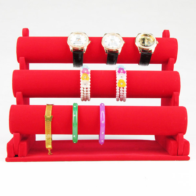 New and Fashion 3 Tier Red color Bracelet Chain Watch T Bar Rack