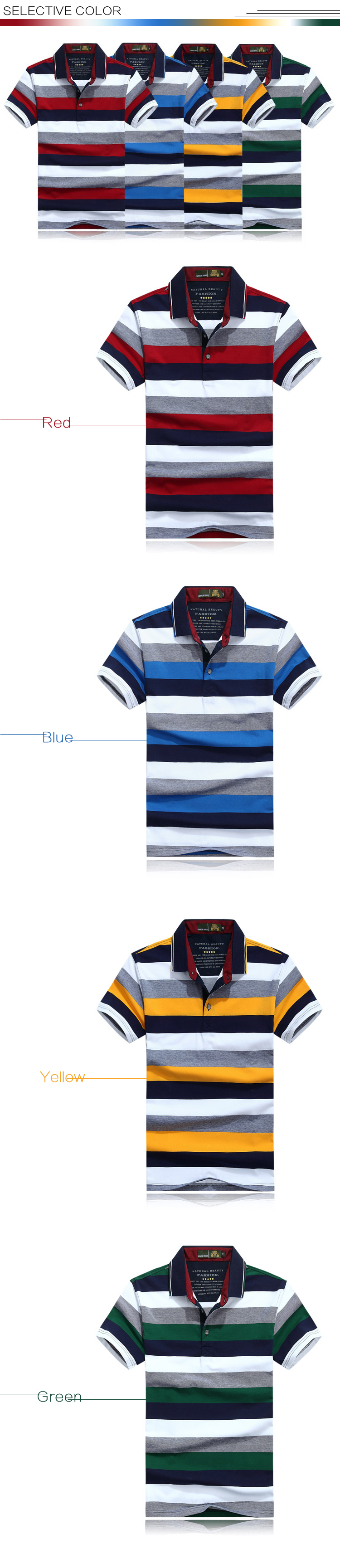Mens Summer Casual Contrast Color Striped Printed Breathable Cotton Polo Shirt