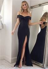 Verngo Sexy Mermaid Evening Dress Classic Black Long Side Slit Formal Abiye Gece Elbisesi