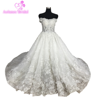 Best Selling Robe De Mariee Off The Shoulder Sweetheart Appliqued 3d Flowers Ball Gown Princess Wedding Dresses