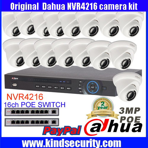 Dahua 16CH 5MP POE NVR4216 Surveillance CCTV System Video Recording Kit Dahua 3MP IPC HDW320S Network
