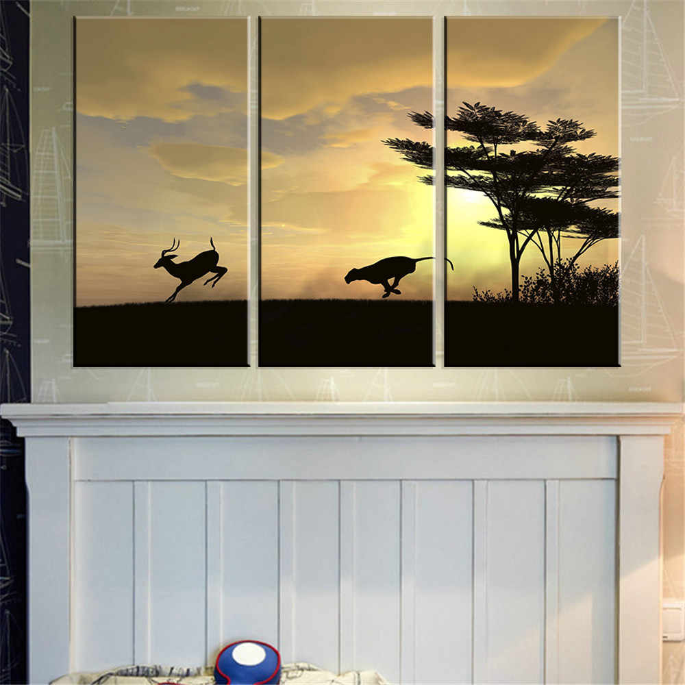 Poster Oil Painting Home Decor 3 Pieces/Set Leopard Deer Sunset HD Canvas Modular Picture Frame Wall Art Prints For Living Room