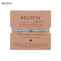 KELITCH Brand New Statement Handmade Blue Crystal Beaded Stone Friendly Bracelet Cardboard Packs Cool Best Friend