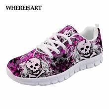 WHEREISART Female Spring Summer Shoes Mesh Flats Casual Skull Womens Sneakers Ladies Breathable Walking Sapato Feminino