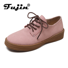 Fujin Flats Ladies Shallow Shoes 2019 New Spring Flock Lace Solid Women Causal Dropshipping Retro Style  PU