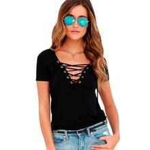 T Shirt Women 2016 Fashion Spring Summer short-Sleeve V Neck Bandage Shirts Casual Hoodie Sexy Women T Shirt short Feminina