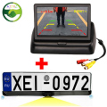 "License Plate Frame with 2PCS of Radar Sensors and 1PC of Rearview Camera in the Center + Folding 4.3"" LCD TFT Monitor"