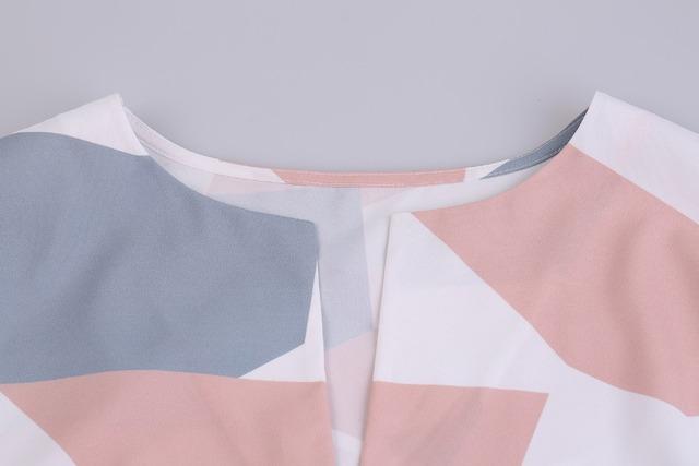 Women Midi Pencil Dress Summer Geometric Multi-color Mid-Calf Length Stand Collar Novelty 2017 Dresses