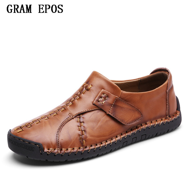 GRAM EPOS Men Shoes Genuine Leather Moccasin Loafers Designer Slip On Flat  Boat Shoes Male Classical
