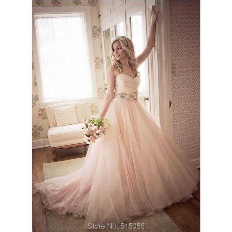 Blush Pink Wedding Gowns: Sexy Ruched Sweetheart Flower Sashes Blush Wedding Dresses