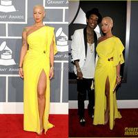 One Shoulder Yellow Chiffon Amber Rose Dress 2012 54th Grammy Awards Red Carpet Dress Celebrity Evening