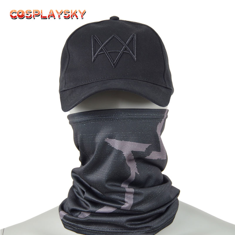 Aiden Pearce Cosplay Masks Hat Costume Black Baseball Cap Party Halloween Mask Watch Dogs 2 Mask Adjustable Strap Caps new cartoon pikachu cosplay cap black novelty anime pocket monster ladies dress pokemon go hat charms costume props baseball cap