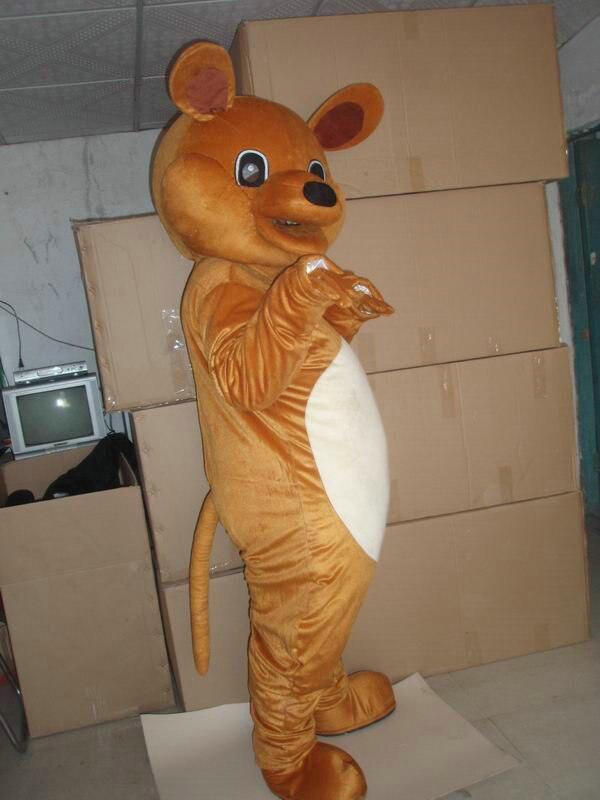 Offre spéciale 2014 adulte dessin animé belle marron grande souris mascotte costume fantaisie robe de noël costume de fête