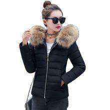 2017 Baru Busana Musim Gugur Musim Dingin Jaket Wanita Bulu Imitasi Besar Kerah Berkerudung Bawah Mantel Perempuan Pendek Parkas M-5XL