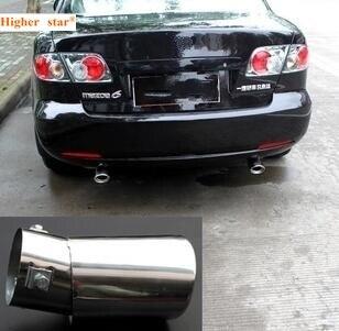 Supérieur étoile en acier inoxydable 2 pièces voiture silencieux, d'échappement tuyaux sortie décoration mois pour mazda6 2003-2013