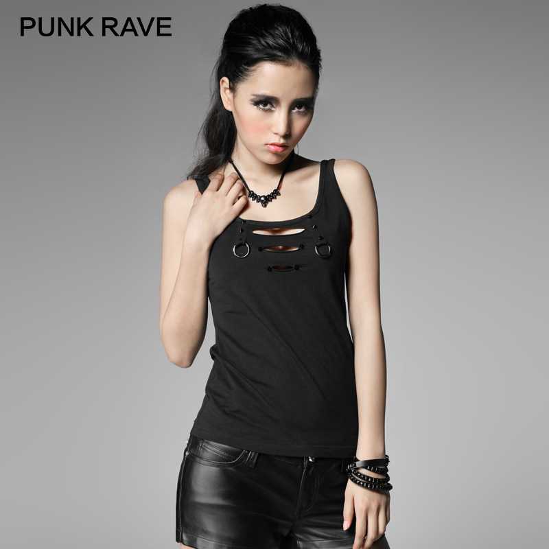 PUNK RAVE Punk Rock Broken-hole Black Iron Loops Sexy Knitted Vest Women  Summer Casual Cotton Tee Shirt Hollow Out Tank Tops 596fec0bf