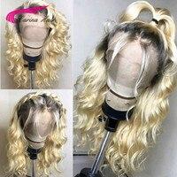 Бразильский Реми предварительно сорвал 613 Platnium блондинка Ombre парик фронта шнурка с темными корнями длинные Омбре человеческие волосы парик