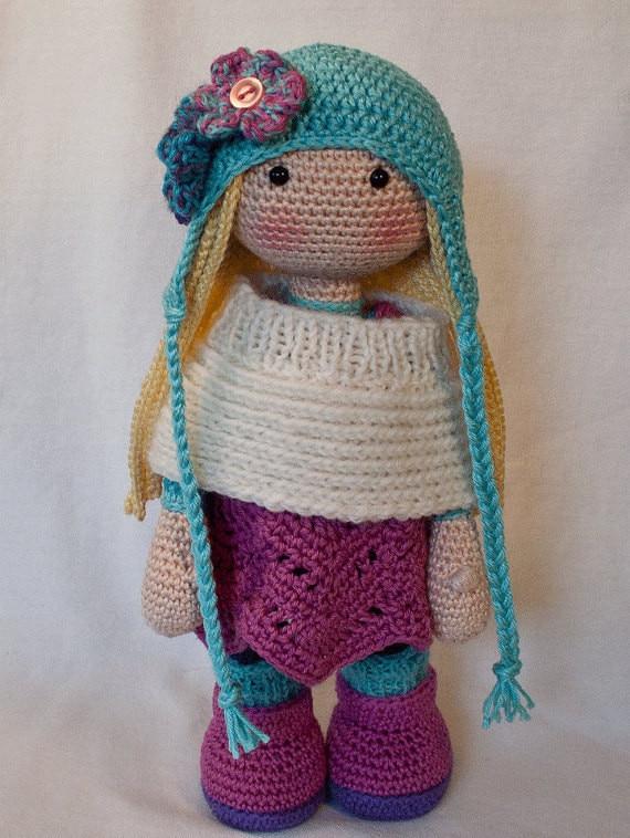 Amado de crochê para meninas boneca de brinquedo chocalho