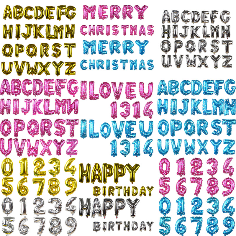 1pcs 16Inch Foil Letter <font><b>Number</b></font> Happy Birthday <font><b>Balloons</b></font> Ballons Birthday Wedding Party Decoration Kids Toys Baby Shower <font><b>Balloon</b></font> image