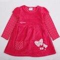 Vestidos da menina do bebê vestido de manga longa crianças roupas de menina novatx marca flor vestido de festa para a menina de algodão crianças roupas