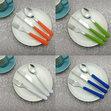 3Pcs/Lot Dinnerware Stainless Steel Kids Silverware Set Matte Handle Blue Green White Fork Knife Cutlery Set Dinner Tableware(China)